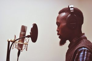 Photo of Cape Town hip hop artist in recording studio